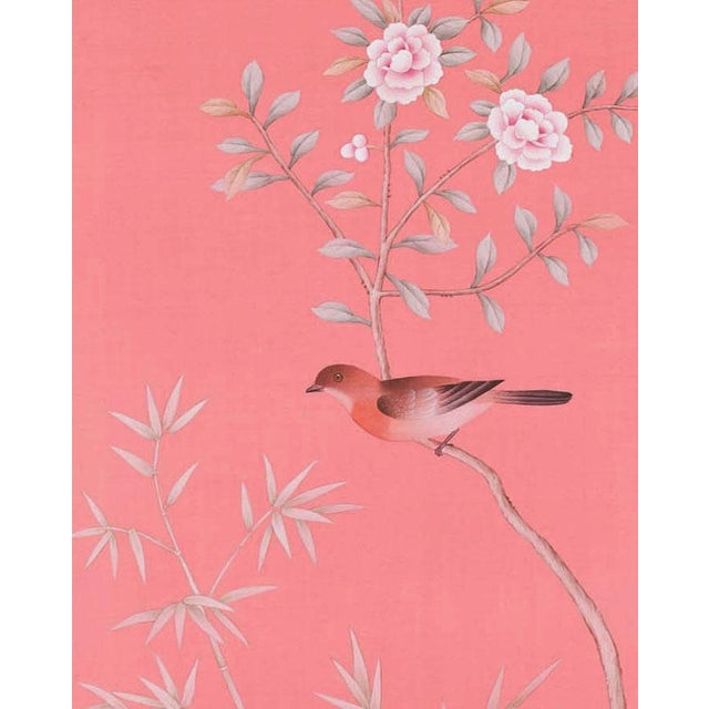 """Jardins en Fleur Out of Production """"Luton House"""" Chinoiserie Hand-Painted Silk Diptych by Simon Paul Scott – 2 Pieces For Sale - Image 4 of 5"""