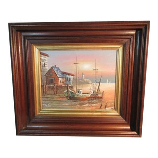 1950s Vintage Max Savy Harbor Scene With Boats Oil Painting For Sale