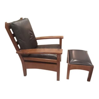 Stickley Mission Gus Bow Arm Chair & Ottoman