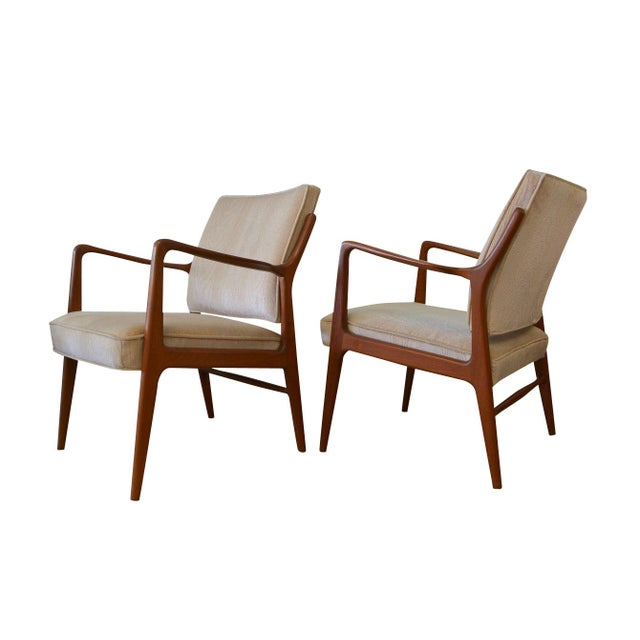 Danish Modern Lounge Chairs in Velvet - A Pair - Image 1 of 6
