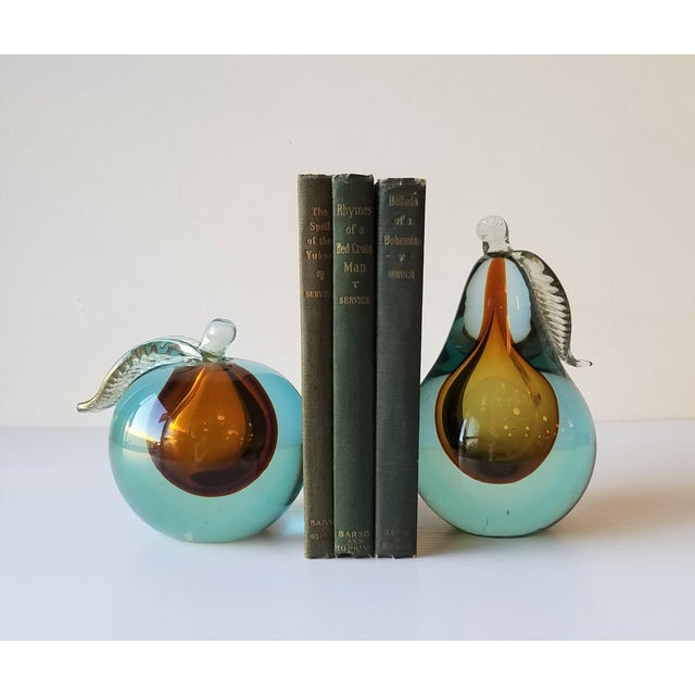 Alfredo Barbini Fruit Bookends comprise of both an apple and a pear. These blown glass pieces were formed in the method of...