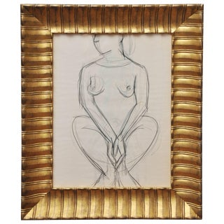 Vintage Mid-Century Nude Line Drawing in Hand Gilded Frame For Sale