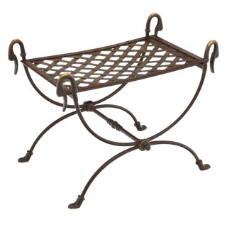 Bronze and Steel Antique Swan Stool For Sale