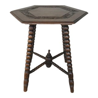 19th Century Renaissance Hexagonal End Table For Sale