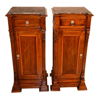 19th Century Antique Victorian Walnut Black Marble Top Nightstands-a Pair For Sale