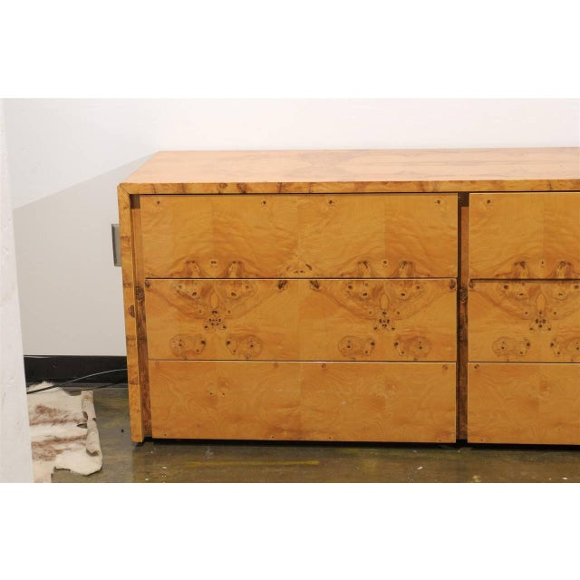 Fine quality vintage four piece set of burl wood furniture with intricately laid bookplate veneers. The suite includes a...