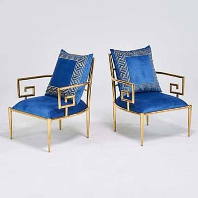 Pair of Asian Modern Greek Key Arm Chairs For Sale - Image 4 of 5