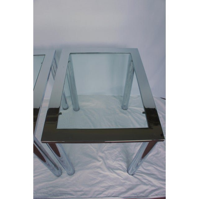 Milo Baughman Chrome & Glass End Tables - A Pair For Sale - Image 5 of 11