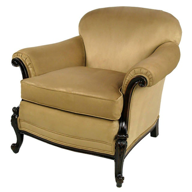 Completely restored classic rolled arm club chair with carved wood frame and cabriole legs. Newly upholstered in a thick...