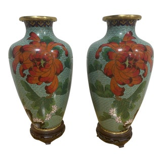 """Cloisonné """"Jingfa"""" Chines Hand Made Brass Enamel Cases on Stands - a Pair For Sale"""