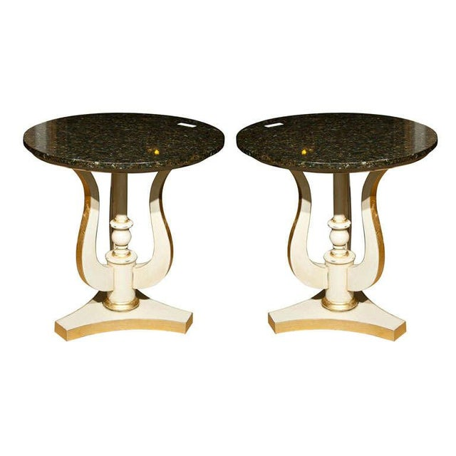 Art Deco Marble Top Side Tables - A Pair - Image 1 of 4