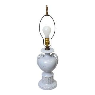 Vintage Light Blue Urn Ceramic Table Lamp For Sale