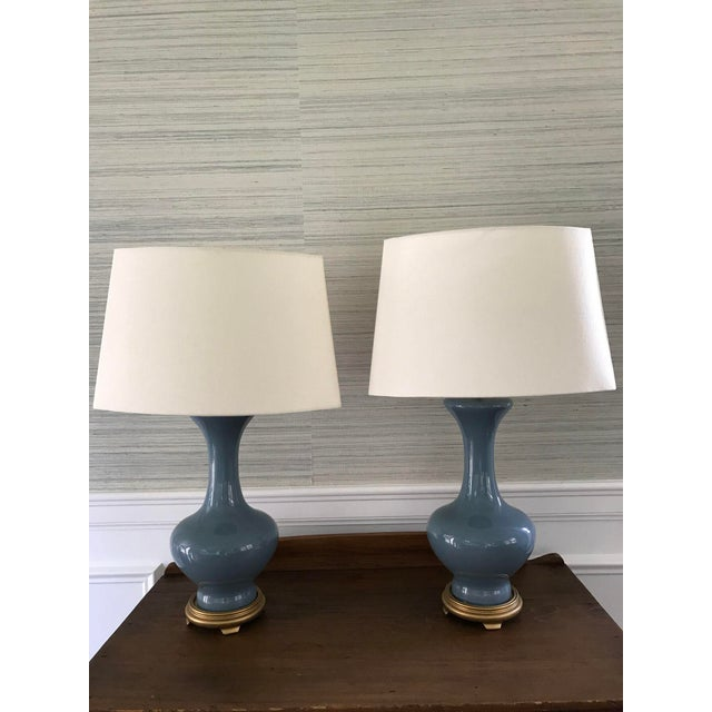 Vintage Blue Ceramic Gold Based Lamps - a Pair - Image 2 of 4