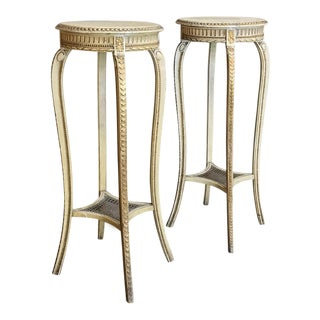 Pair 19th Century Italian Neoclassical Painted Pedestals For Sale