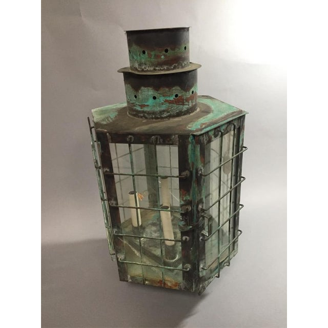 Industrial Vintage Large Maritime Style Copper Lamp For Sale - Image 3 of 3