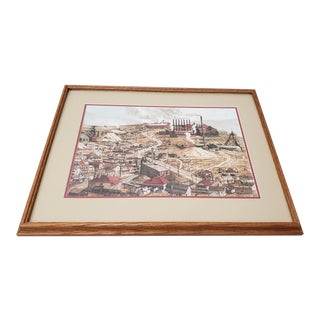 "Vintage ""Birdseye View of a Mining Town"" Original Watercolor Painting by Nugent C. 1989 For Sale"