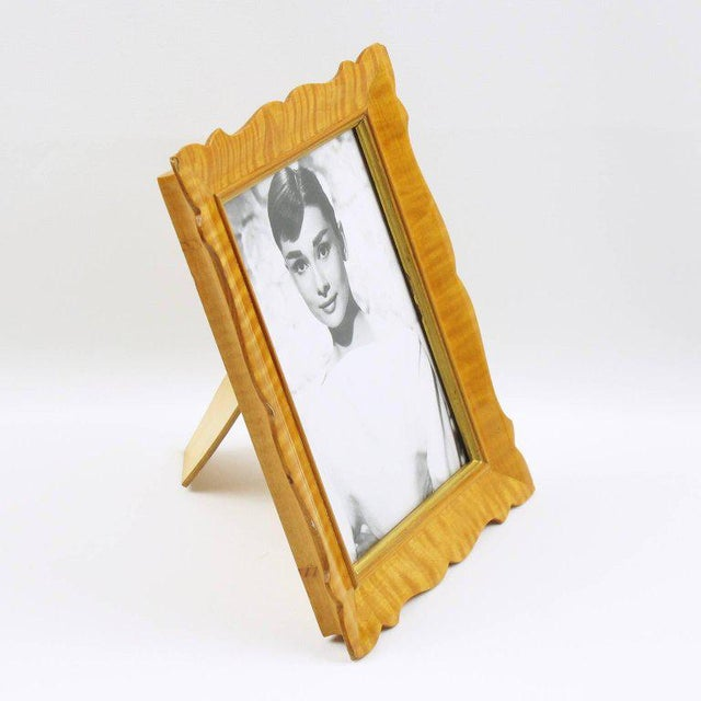 Elegant Italian Art Deco / Hollywood Regency picture photo frame. Lovely romantic bevelled shape with varnished sycamore...