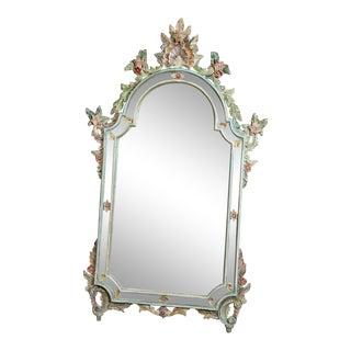 Vintage Italian Venetian Floral Mirror For Sale