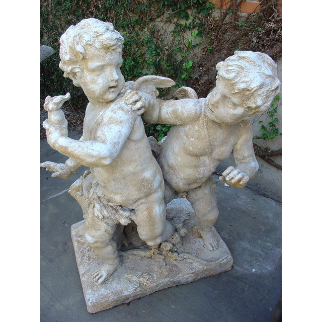 Gothic Cast Stone Cupids Statue From France For Sale - Image 3 of 10