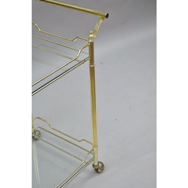 Mid Century Modern Brass Plated Metal & Glass Gold Rolling Bar Tea Cart - Image 9 of 11