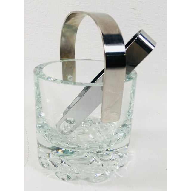 Chrome Orrefors Crystal Ice Bucket For Sale - Image 7 of 7