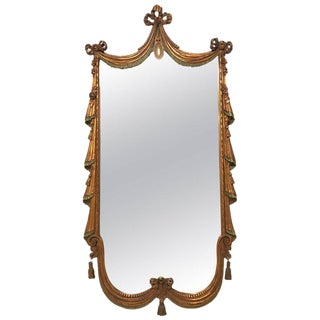 Drapery and Tassel Form Giltwood Wall or Console Mirror Style of Dorothy Draper