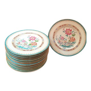 1910 Minton England Floral Dinner Plates With Aqua Border - Set of 15 For Sale