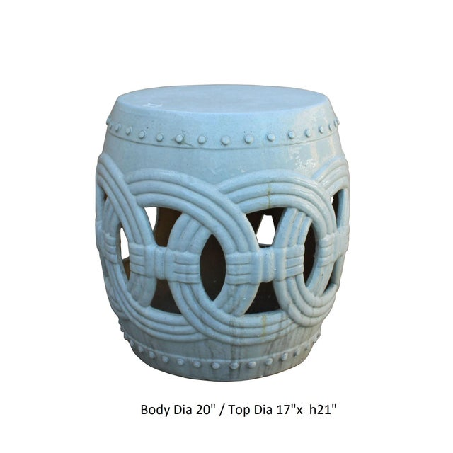 Ceramic Chinese White Coin Pattern Round Clay Ceramic Garden Stool For Sale - Image 7 of 7