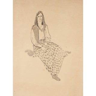 """Rip Matteson """"Seated Hippie Girl Portrait"""" Ink Drawing on Paper, Circa 1970s For Sale"""