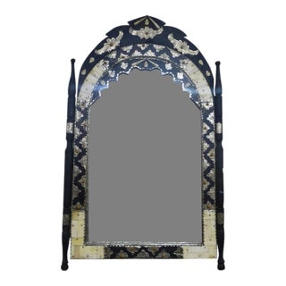 Moroccan Mirror W/ Bone and Silver For Sale