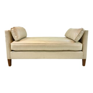 Thomasville Modern Champagne Waxed Linen Bench For Sale