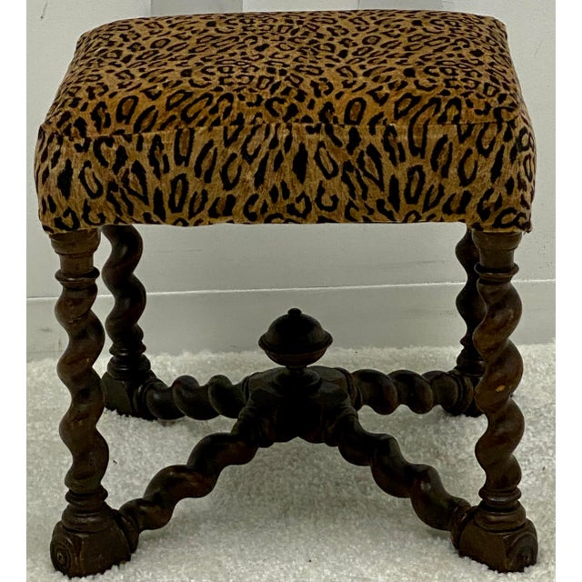 English Vintage Barley Twist Ottoman in Leopard by Hickory Chair For Sale - Image 3 of 4