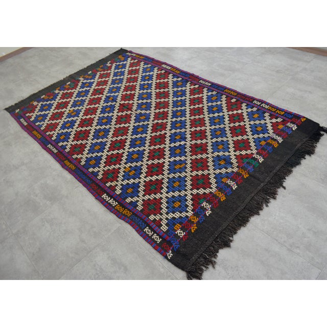 """Hand-Woven Rug Kilim Braided Nomadic Rug - 5' X 8'4"""" For Sale - Image 12 of 12"""