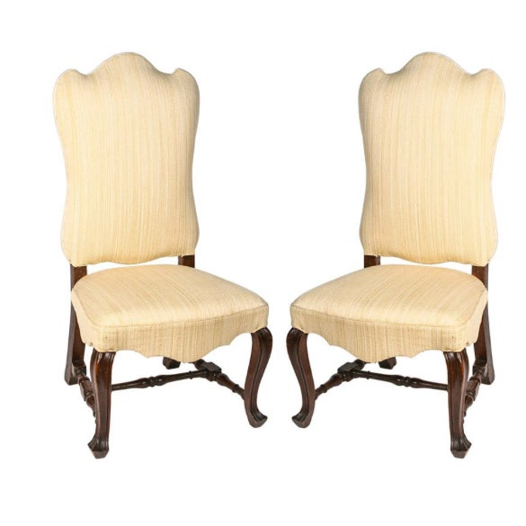 19th Century Vintage Walnut Italian Side Chairs- A Pair For Sale - Image 9 of 9