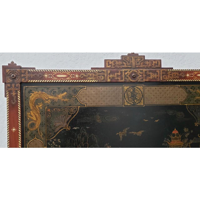 Asian Vintage Chinese Carved & Painted Fire Screen C.1940s For Sale - Image 3 of 11