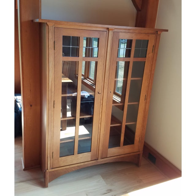 Stickley Cherry Leaded Glass Double Door Bookcase For Sale - Image 13 of 13
