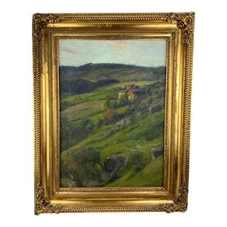 19th Century Plein Air Landscape by Fredrik Borgen, Framed Oil Painting For Sale