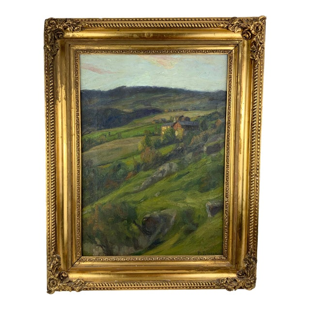 19th Century Plein Air Landscape by Fredrik Borgen, Framed Oil Painting For Sale