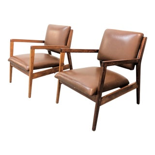 Mid Century Modern Walnut Lounge Chairs- A Pair For Sale