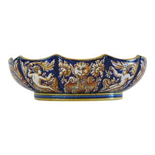1865 Antique Gien French Renaissance Revival Faience Earthenware Scalloped Bowl For Sale