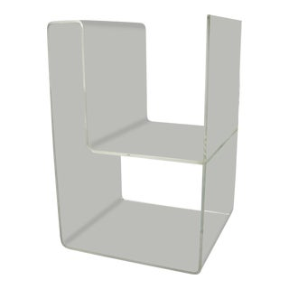Large Lucite 2-Level Magazine Rack For Sale