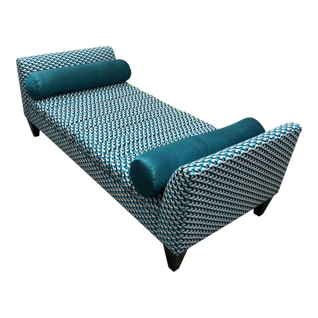 Contemporary Teal Patterned Daybed For Sale