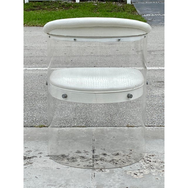 Metal Lucite Barrel Back Chairs - Set of 4 For Sale - Image 7 of 13