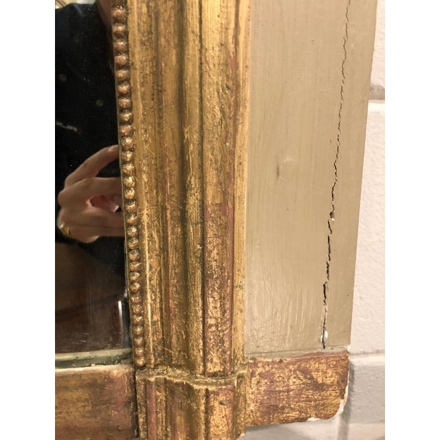 Mid 19th Century French Louis XVI Gilt Painted Mirror For Sale - Image 5 of 6