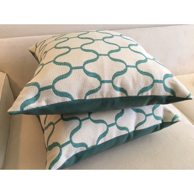 Custom Turquoise Moroccan Trellis Pillows - Pair - Image 4 of 5