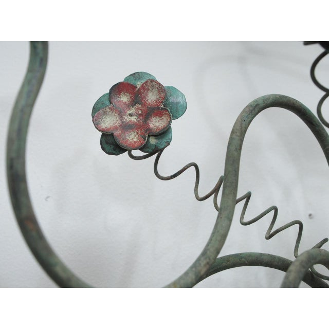 Metal Polychrome Wall Lights with Springy Flowers For Sale - Image 7 of 9