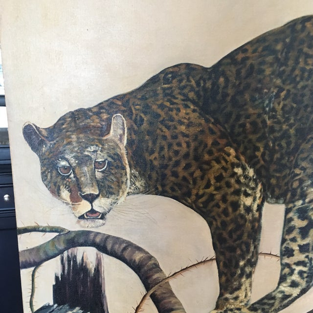 Mid-Century Leopard Oil Painting For Sale - Image 10 of 11