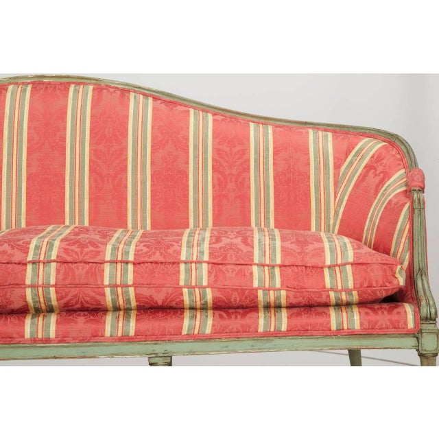 French Louis XVI Period Antique Green Painted Sofa Canapé Settee, 18th Century For Sale - Image 6 of 10