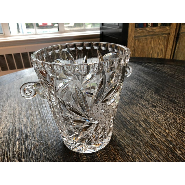 Stunning American Brilliant Cut glass ice or wine bucket with curved handles. So sparkly and colorful under light. No...