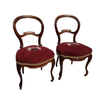 Late 19th Century Victorian Embroidered Balloon Back Side Chairs - a Pair